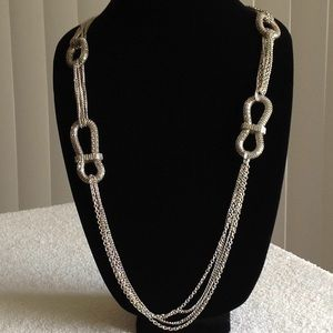 Silver Tone Mesh Long Layered Chain Necklace